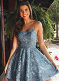 Charming Sky Blue A-line Lace Spaghetti Straps Homecoming Dresses, Short Prom Dress D1115