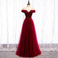 D1150,Elegant Burgundy Prom Dresses,Off the Shoulder Dark Red Party Dress with Beaded