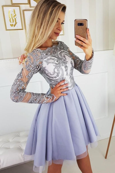 0242,charming long sleeves lace jewel applique mini evening dresses party dresses tulle beaded applique homecoming dress