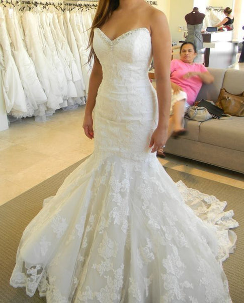 Fashion Appliques White Tulle Mermaid Wedding Dress, Formal Bridal Gowns H3441