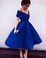D1148,Royal Blue Tea Lenth Prom Dresses,Off the Shoulder Evening Dresses,A line Homecoming Dresses