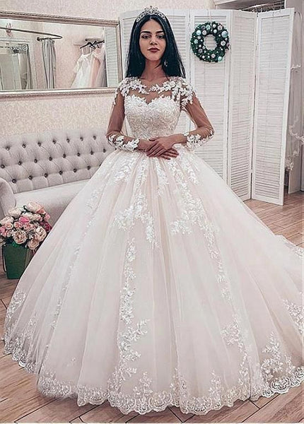 R0123,white long sleeves long women dresses lace tulle jewel fashion dresses tulle applique beaded long wedding dresses