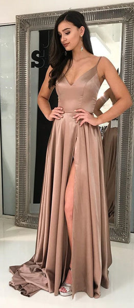 D1153,Sexy Slit Prom Dresses Long Spaghetti Straps Women Evening Party Dresses