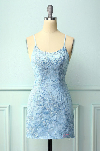 Lace Appliqued Bodycon Blue Homecoming Dress 2379