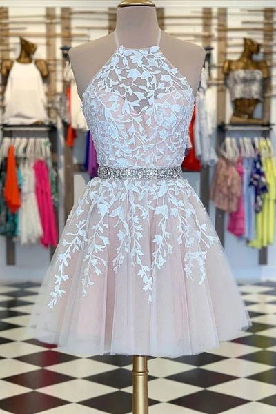 R0155,pink a-line halter mini school event dress beaded lace appliqu tulle homecoming dress women dress