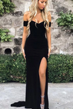 D1206,Sexy Off the Shoulder Black V Neck Mermaid Open Back Prom Dresses with Side Slit