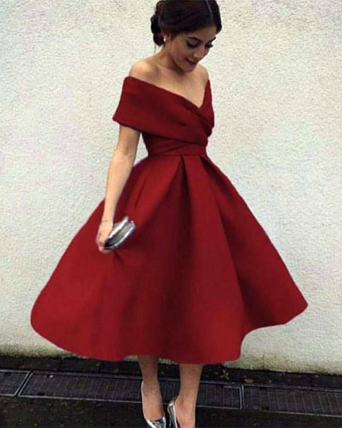 D1147,Burgundy Tea Lenth Prom Dresses,Off the Shoulder Evening Dresses,A line Homecoming Dresses