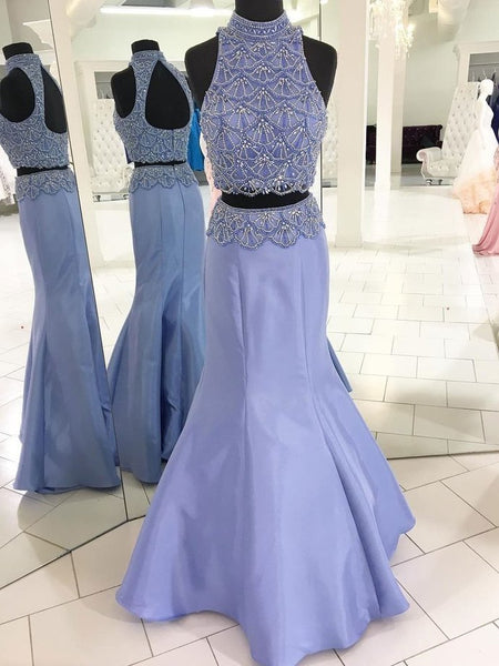 Two Piece Prom Dresses Mermaid High Neck Floor-length Rhinestone Long Sparkly Prom Dress KS286