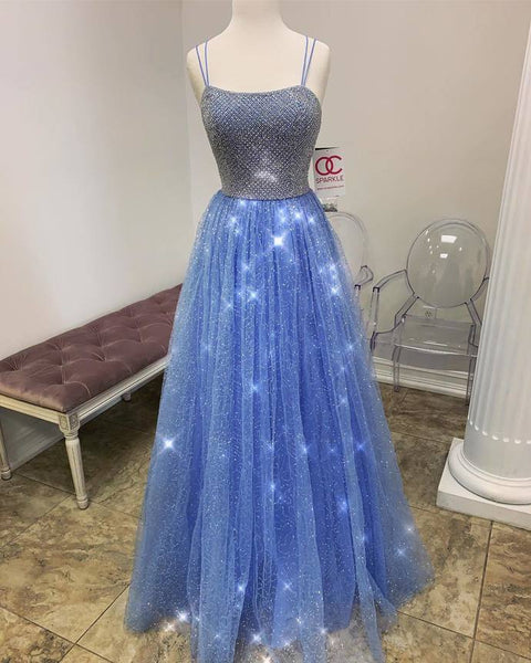 Glitter Blue Tulle Prom Dress with Criss Back 8001328
