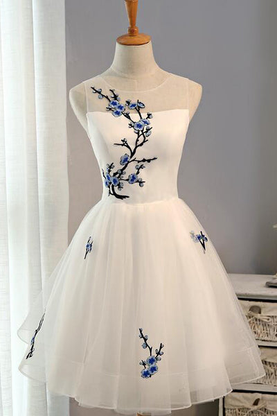 Classy Floral Embroidery Little White Homecoming Dress cg6655