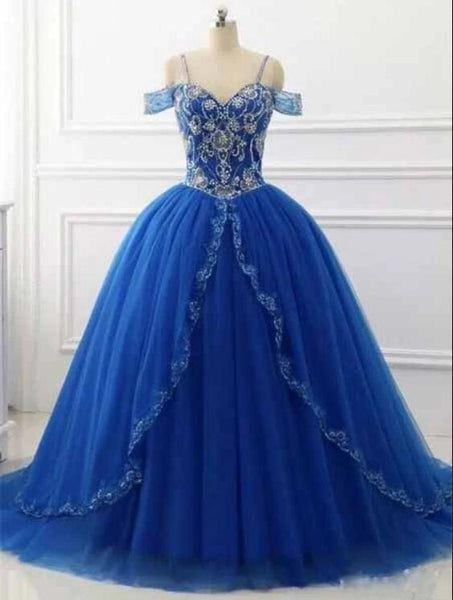 Gorgeous Tulle Royal Blue Crystal Beading Ball Gown Prom Dress, Formal Quinceanera Dress T1805