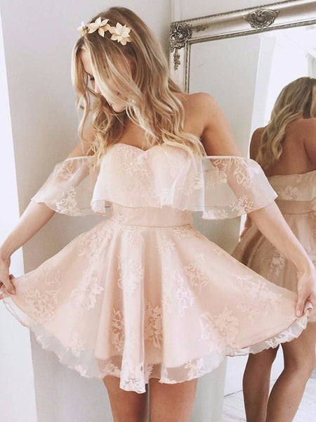 R0165,pink off the shoulder sweetheart short sleeves lace mini evening dress applique lace ruffles tulle homecoming dress