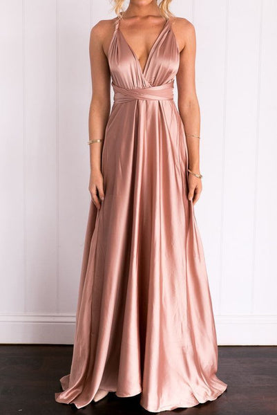 D1159,Charming Prom Dresses,Satin Prom Gown,A-Line Prom Dress,V-Neck Prom Gown