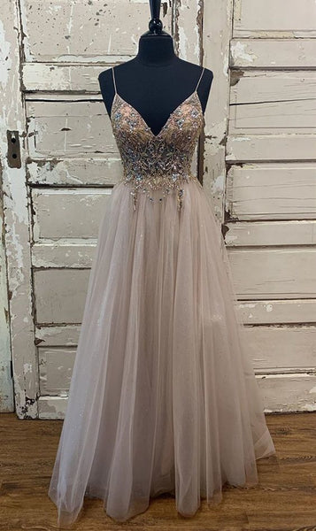 D1353,A line tulle beads long prom dress evening dress,spaghetti straps prom dresses