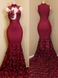 D1293,Sexy Rose Flowers Prom Dresses | Sleeveless Sheer Mermaid Evening Gowns