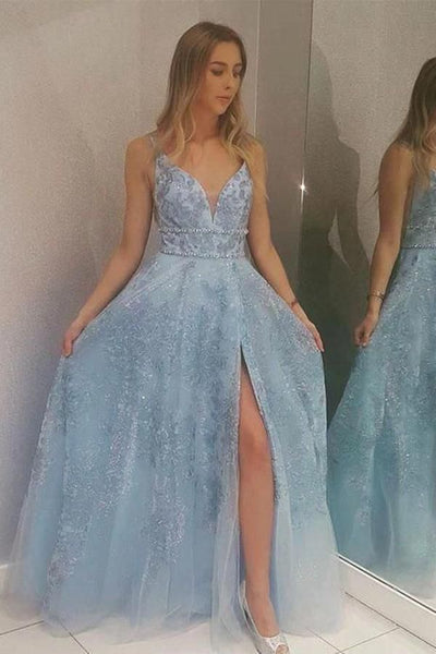 1395,Light Blue Lace Appliques Prom Dresses with Slit Beads V Neck Evening Dresses