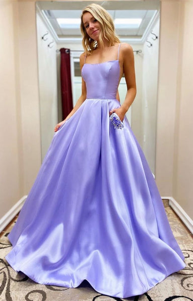 D1390,Lavender Prom Dresses,Spaghetti Straps A line Evening Dress