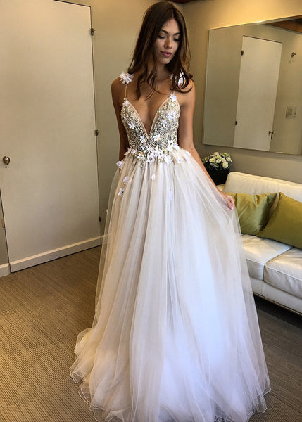 R0153,light sleeveless v-neck full length evening dresses applique lace tulle party dresses lace beaded applique flower wedding dresses