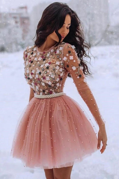 0274,beauty pink long sleeve jewel school event dress short evening party dress tulle applique beaded flower homecoming dress