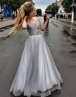 A Line Beaded Silver Grey Long Prom Dresses, Tulle Prom Dress H3671