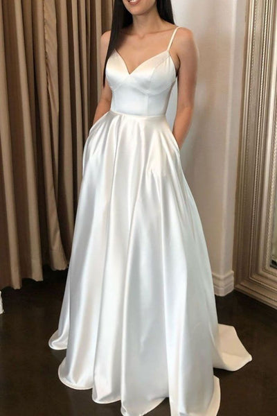 R091,simple white sleeveless v-neck pocket full length evening party dress women dress spaghetti-straps pocket satin school event dress