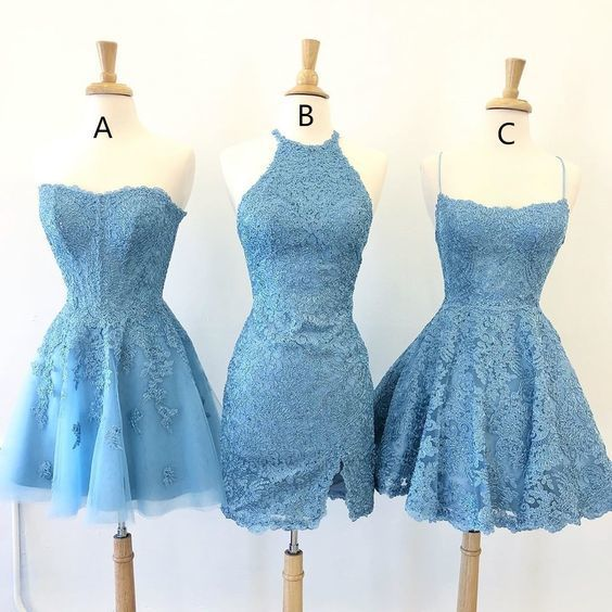 Elegant Blue Appliques Short Homecoming Dress, A Line Cute Prom Dress T842