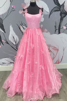 0278,light pink sleeveless a-line tulle satin school event dress applique spaghetti-straps long prom dresses