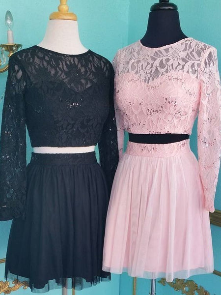 Long Sleeve Lace Homecoming Dresses, 2 Piece Prom Party Dresses H4952