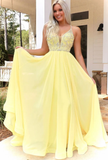 YELLOW V NECK CHIFFON BEADS LONG PROM DRESS YELLOW FORMAL DRESS 1783