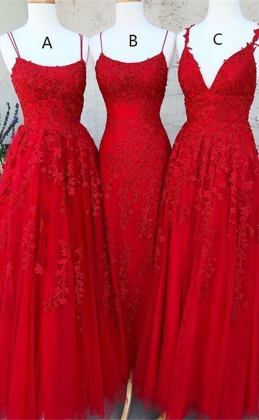 Elegant Tulle Spaghetti Straps Red Prom Dress, Formal Appliques Evening Dress H3414