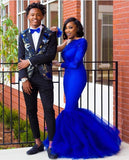 D1290,Royal Blue Long Sleeve One Shoulder Mermaid African Prom Dress