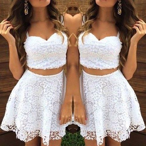 Two Piece Lace White Homecoming Dresses, Short Homecoming Dress H3192