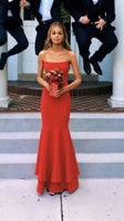 D1258,Sexy Red Spaghetti Straps Sheath Prom Dress,Halter Mermaid Party Dress
