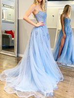D1117,Princess Light Blue Prom Dresses,Applique Prom Dress,Formal Dresses with Side Slit