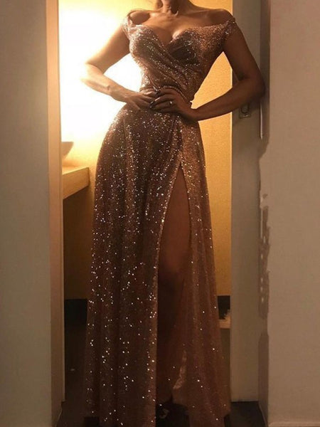 0301,light champagne off the shoulder sweetheart cap sleeves long evening dresses sequins slit-skirt prom dress