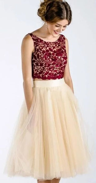 Princess Two Piece Burgundy and Cream Short Homecoming Dress P01824
