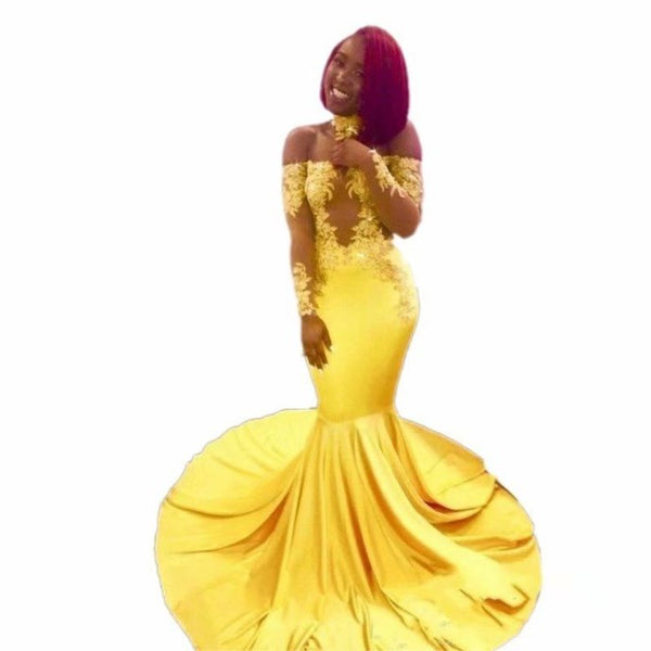 Mermaid Evening Dresses Sexy Long Sleeve Yellow Prom Dresses H4085