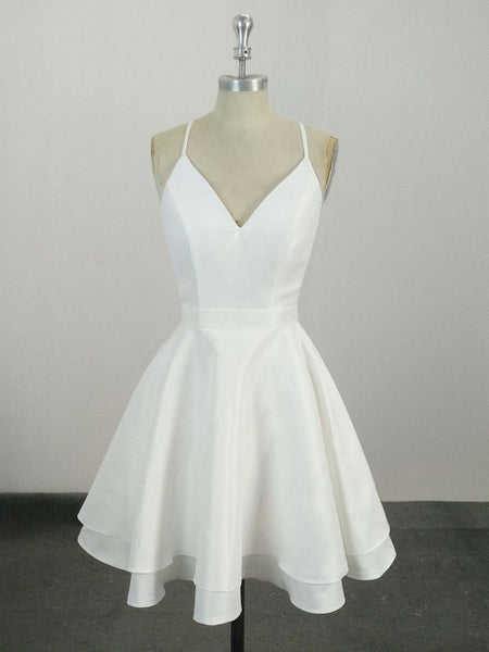 R0162,simple short white sleeveless v-neck chiffon women dress mini evening dress spaghetti-straps v-neck homecoming dress