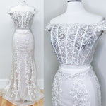 Two Piece Off the Shoulder Lace Mermaid White Prom Dress KS372