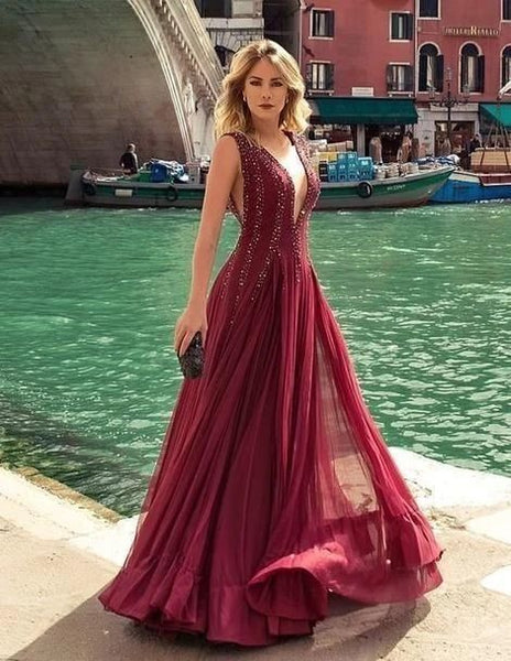 Charming V neck Tulle Prom Dress, Burgundy Evening Dress H3424