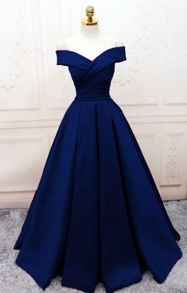 D1116,Popular Navy Blue Evening Dresses,A line Prom Dresses,Off the Shoulder Party Gown