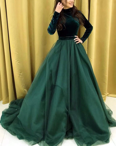 D1250,High Neck Long Sleeves Velvet And Organza Prom Dresses Ball Gowns