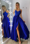 Sexy Royal Blue Prom Dress with Slit, Evening Dress ,Winter Formal Dress, Pageant Dance Dresses P01575
