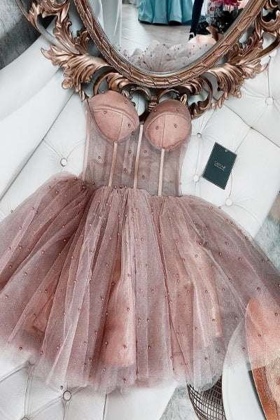 Dusty Rose Beaded Short Homecoming Dress, Cute Prom Dress T1533