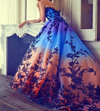 D1386,Princess Evening Dresses,Long Prom Dress with Applique Beaded
