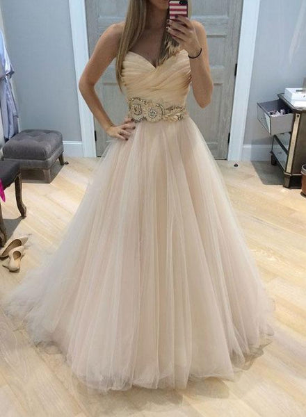 Custom made A line tulle long prom dress, wedding dress ks3080