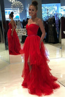 High Low Strapless Champagne/Red Tulle Long Prom Dresses, Long Champagne/Red Formal Graduation Evening Dresses KS4130