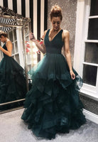 Green v neck tulle long prom gown evening dress KS4182
