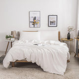 Mertrago Queen Duvet Cover Set White 100% Cotton Duvet Cover Ultra Soft Reversible Modern Simple Farmhouse Bedding Set with Zipper Closure,Fade-resistant,Easy-care