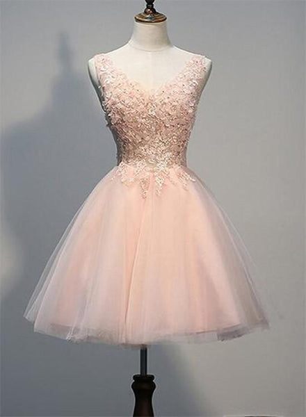 Blush Pink Lace Backless V-neck Homecoming Dresses, Short Pink Prom Dress KS6174